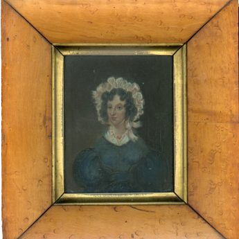 Small oil on canvas portrait of a lady circa 1825