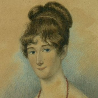 Pair of watercolour portraits of Regency ladies