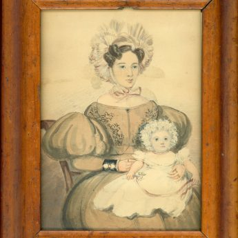 A pair of naive watercolour portraits of a doctor with his wife and baby