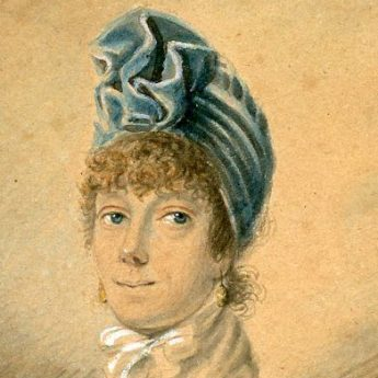 Watercolour portrait of a stylishly dressed lady