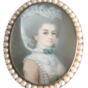 French School miniature portrait of a well-dressed lady