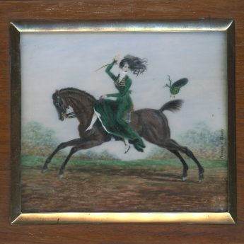 Miniature portrait of a lady riding a horse painted by Jacques-Victor Bouis
