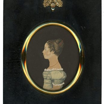 Watercolour cut profile of a young lady dated 1828