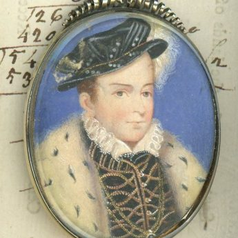 Miniature portrait on vellum of Francis II after Clouet