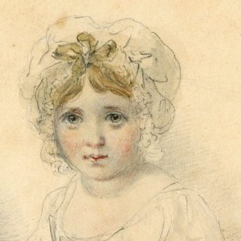 Watercolour and pencil portrait of Sarah and Mary Smirke by their father