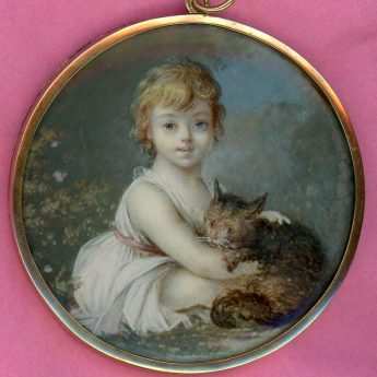 Miniature portrait of a child in a garden with a tabby cat