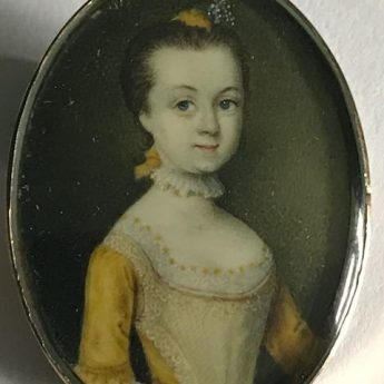 Miniature portrait of a girl in a yellow silk dress by A. B. Lens