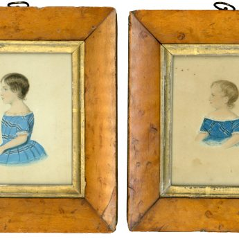 A pair of watercolour portraits of children