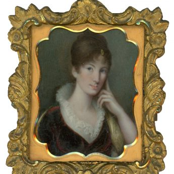Miniature portrait of a lady in a burgundy dress