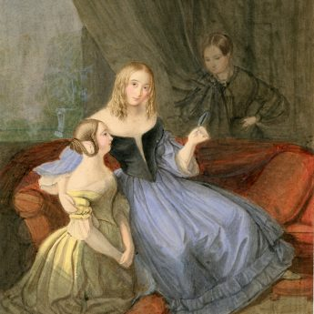 Watercolour of a young family in a drawing room