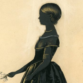 Cut and gilded silhouette of the Weitbrecht children by Herve