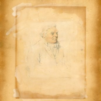 Pencil and watercolour portrait of William Ireland