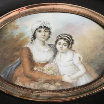 Miniature portrait of a mother and daughter, signed Mosnier