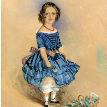 Watercolour of a child in a blue dress