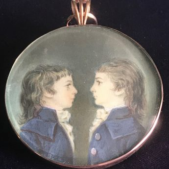 French portrait miniature of two boys