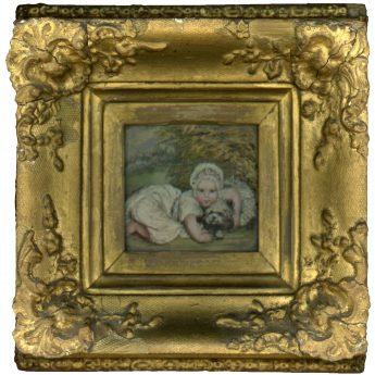 Silk needlework and watercolour picture of a child with a dog