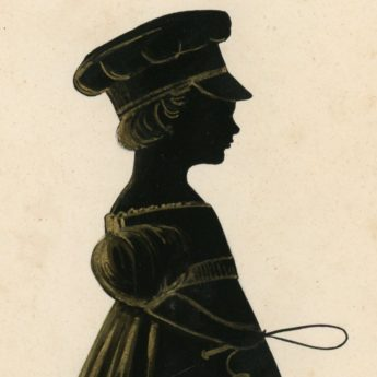 Painted silhouette of a boy in a peaked cap