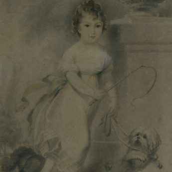 Circle of Edridge, portrait of a child and a dog