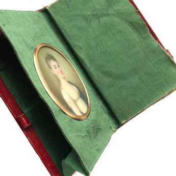 Miniature portrait by Domenico Bossi within a personal pocketbook