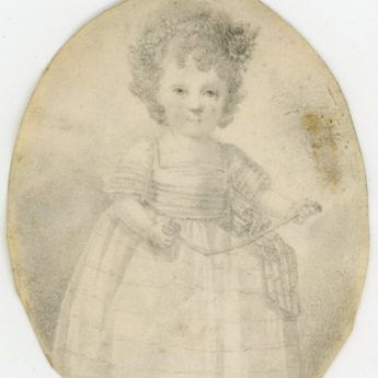 Charming pencil portrait of 2-year old Sarah White