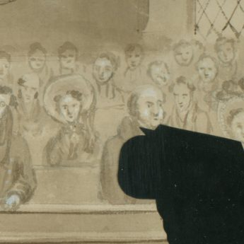 Cut silhouette of Rev Irving preaching cut by Augustin Edouart