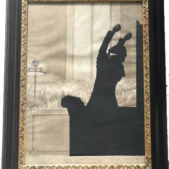 Double-sided cut silhouette of Rev Irving preaching cut by Augustin Edouart