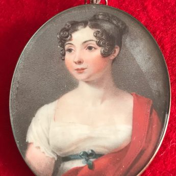 Miniature portrait of a young lady by Thomas Hargreaves