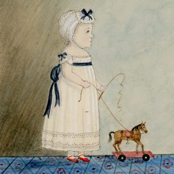 Watercolour portrait of a child with a toy horse on wheels