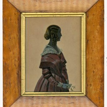 Painted and gilded silhouette of a lady in a plum dress
