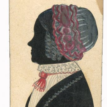 Cut and painted half-length silhouette of a lady