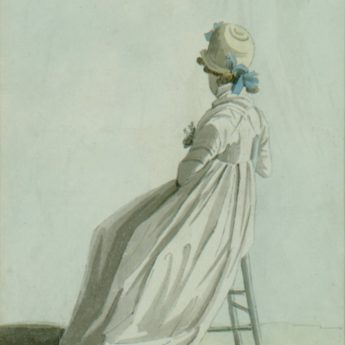 Circle of Paul Sandby, watercolour portrait of a lady