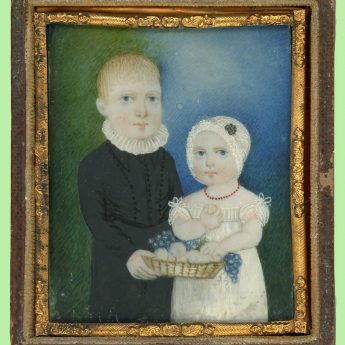 Charming miniature portrait of children with a basket of fruit