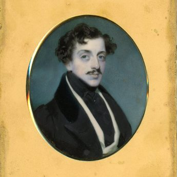 Edward Robertson, miniature portrait of a gentleman in a travelling case
