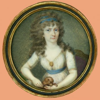 Miniature portrait of a lady with her puppy
