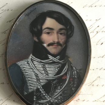 Miniature portrait of an Hussar Officer by Delacluze