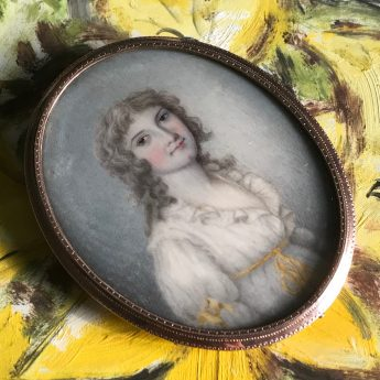 Miniature portrait of young lady by Hobday