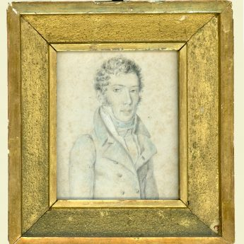 Small pencil and watercolour portrait of a gentleman
