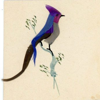 Miniature watercolour and feather painting