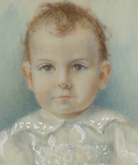 Miniature portrait of a young child signed by Gladys Colthurst