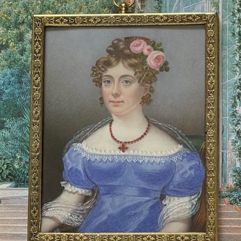 Miniature portrait of a young lady by William Hudson, dated 1823