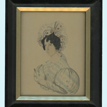 Small watercolour portrait of a lady in a striped dress