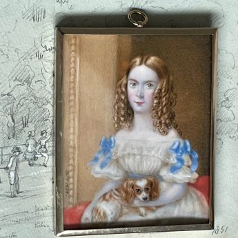 Miniature portrait of a girl with her spaniel by Mary Jane Tomalin