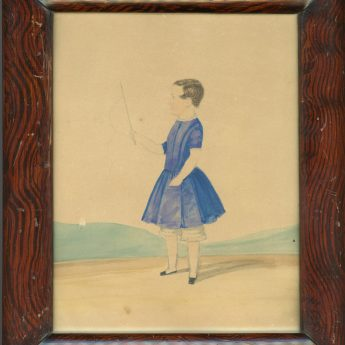 Naive portrait of a boy with a whip