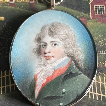 Nathaniel Freese, signed miniature of a young gentleman