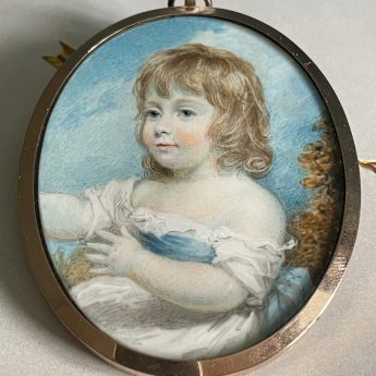 Miniature portrait of Mary Welsh as a child by Henry Edridge