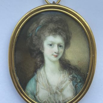 Miniature portrait of a named lady by Horace Hone