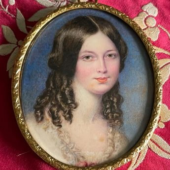 Early Victorian miniature portrait of a young lady