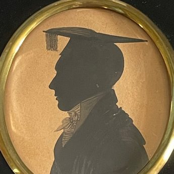 Painted silhouette of a Cambridge student by Richard Bankes Harraden