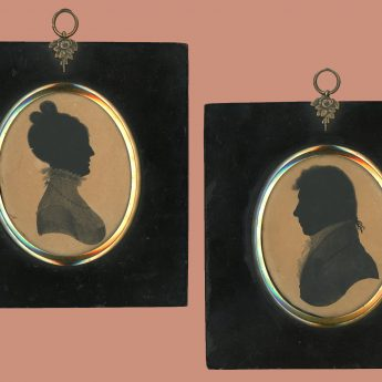 A pair of painted silhouettes dated 1807