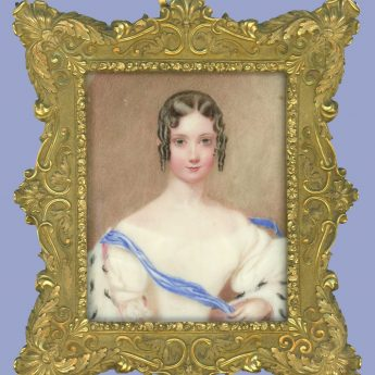 Miniature portrait of a young lady in an ermine wrap